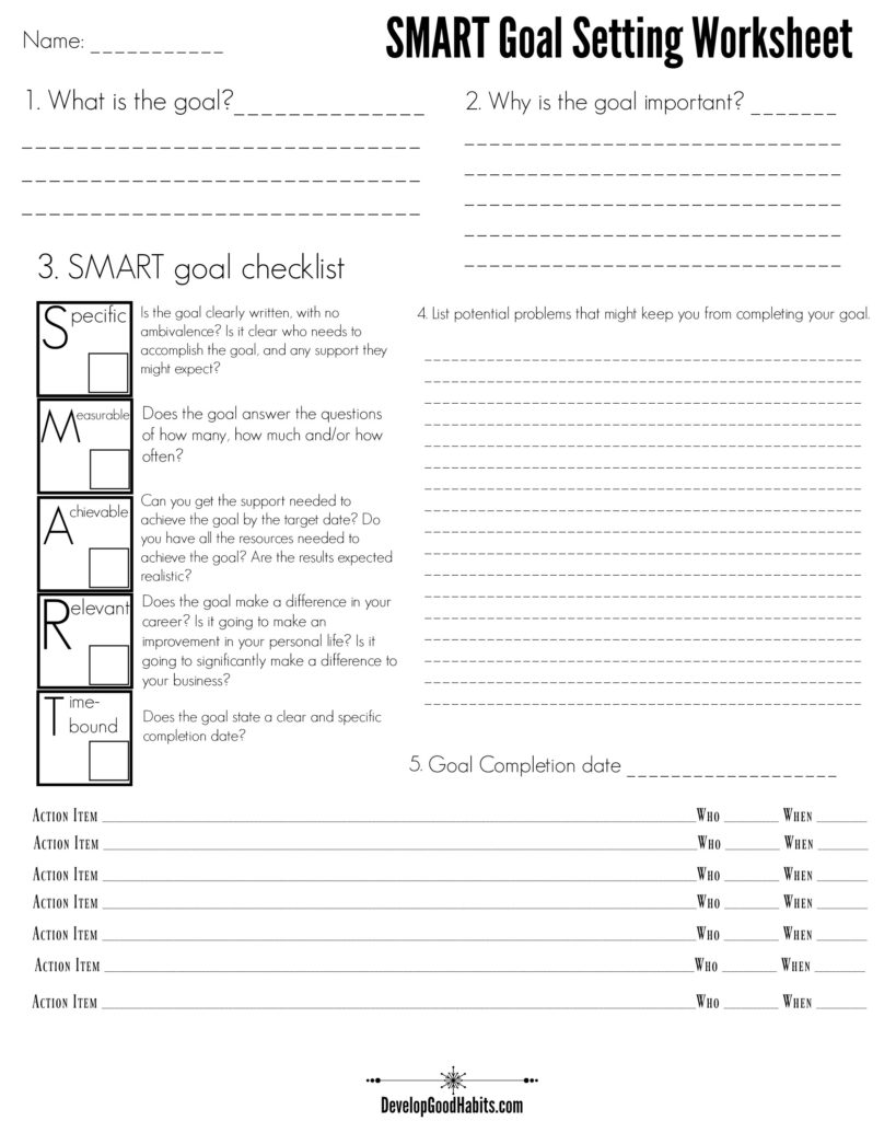 Smart goal setting worksheet examples